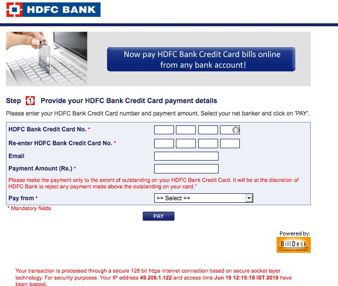 hdfc credit card payment login other bank account