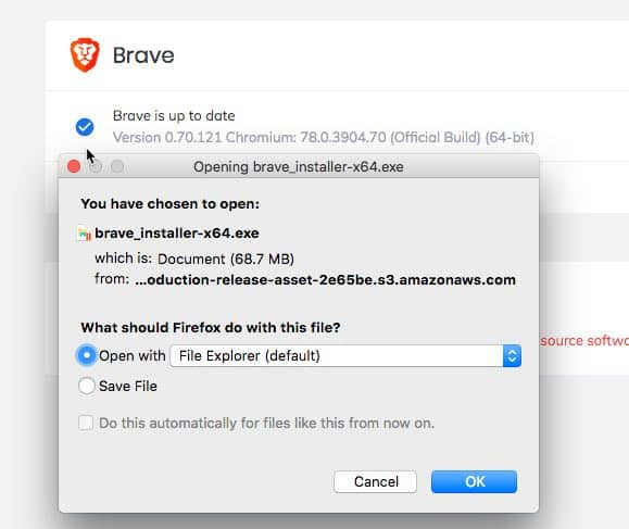Brave Browser Offline installer 64 32 bit