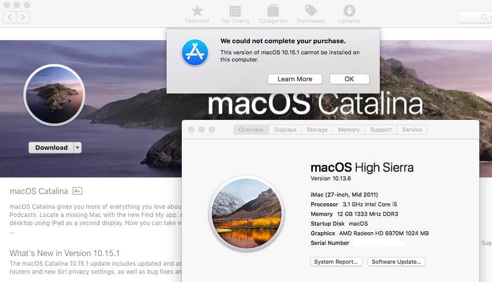 This version of macOS [10.15.1 or 10.14.6] cannot be installed on this computer
