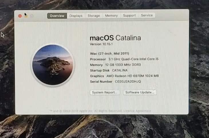 macOS Catalina on iMac 2011