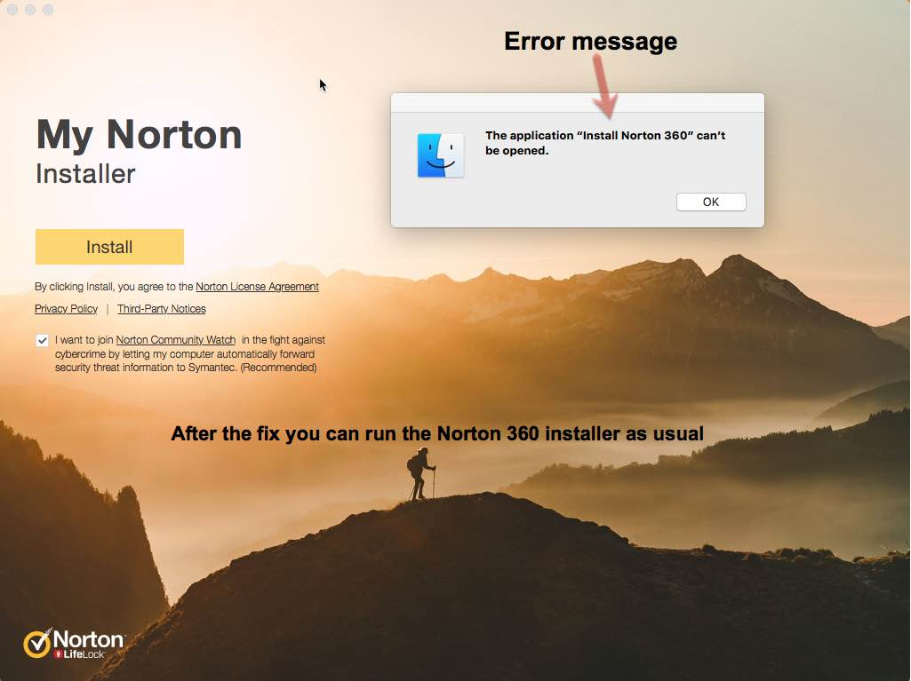 the application Install Norton Security 360 can't be opened