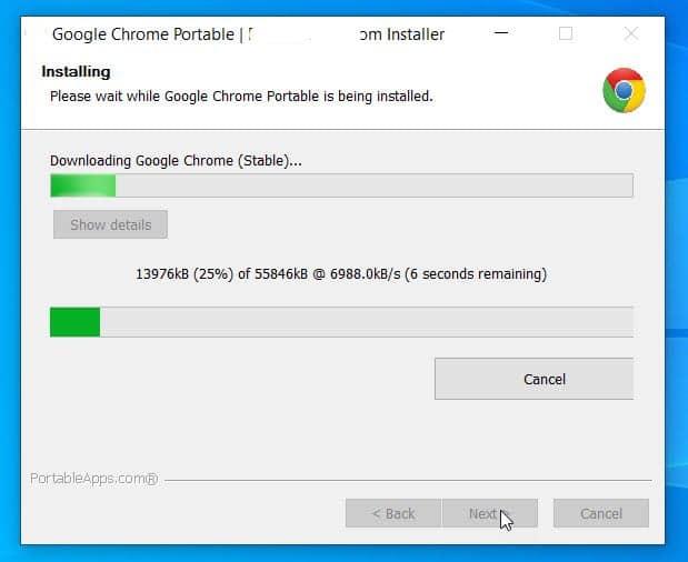 Google Chrome Portable installer