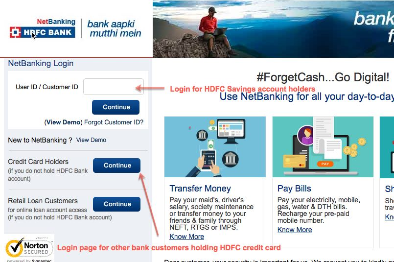 HDFC Credit Card (CC) login page