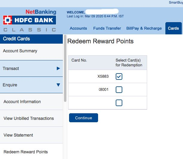 HDFC netbanking Credit card rewards login