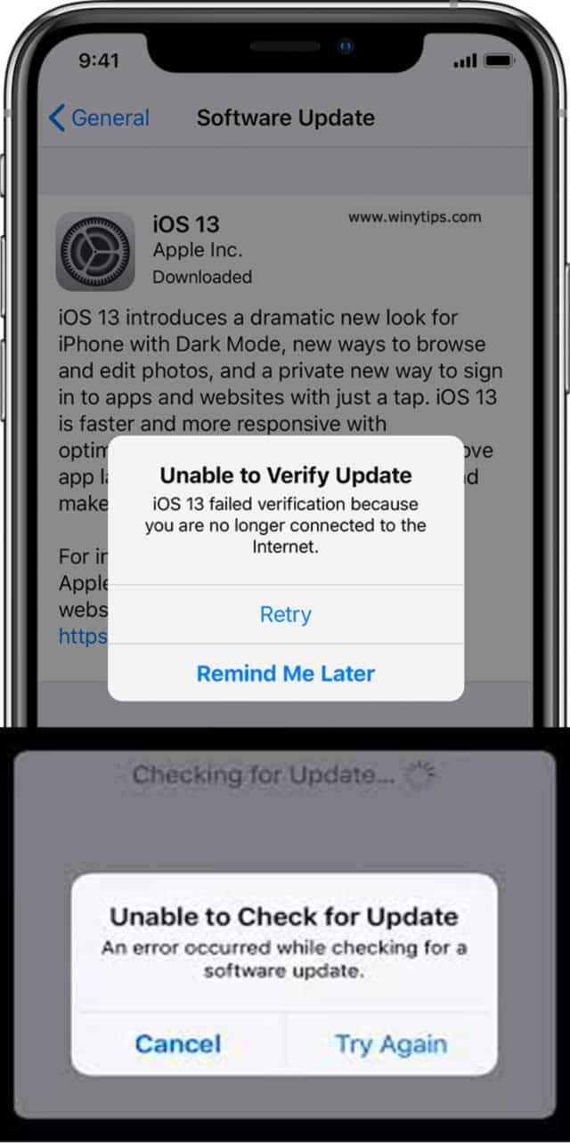 iOS offline installer unable to check verify for update