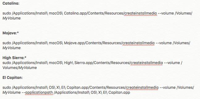 Convert macOS installer to USB commands
