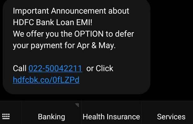 HDFC Bank EMI loan moratorium link SMS