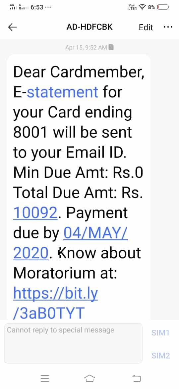 HDFC credit card moratorium