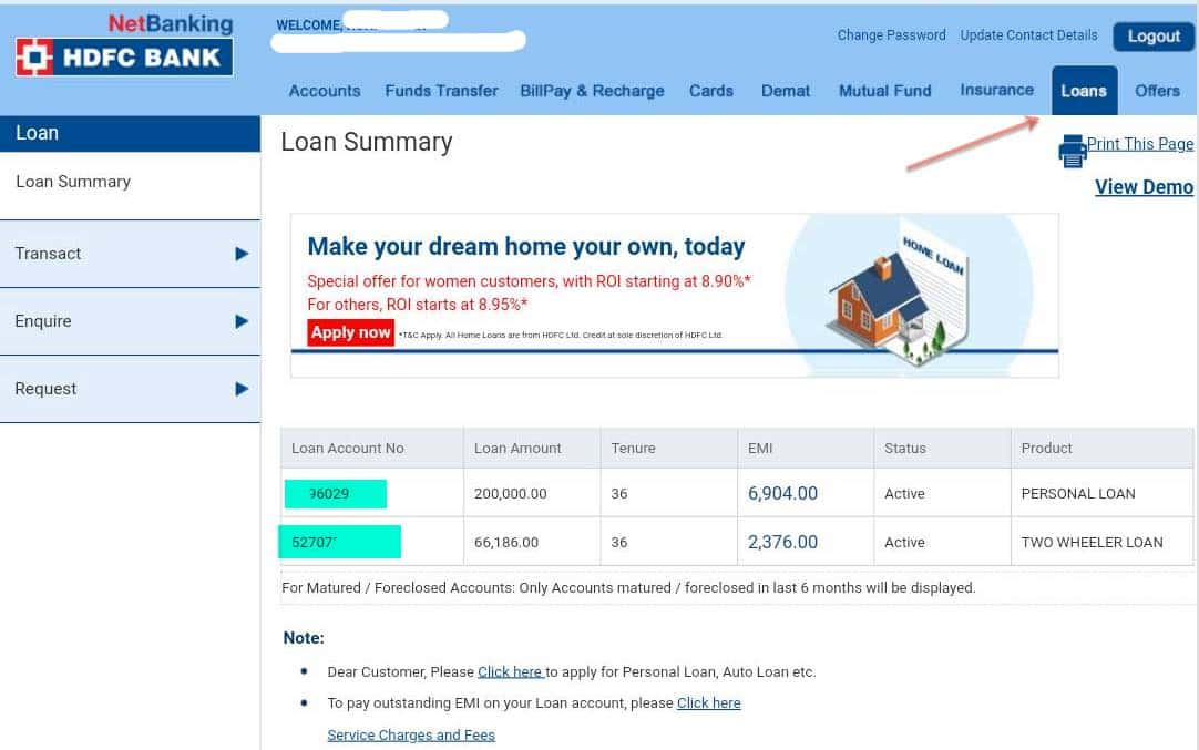 HDFC netbanking loan account number