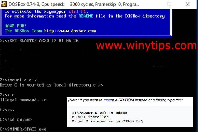 Install run old dos games windows 10