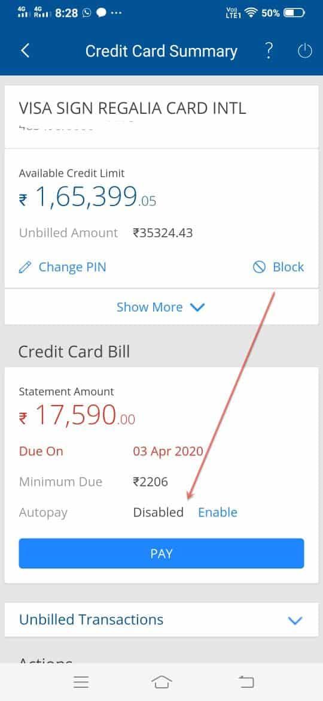 Stop automatic HDFC credit card due payment moratorium