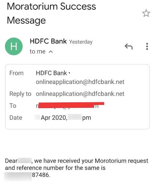 Submit request HDFC Bank Loan moratorium