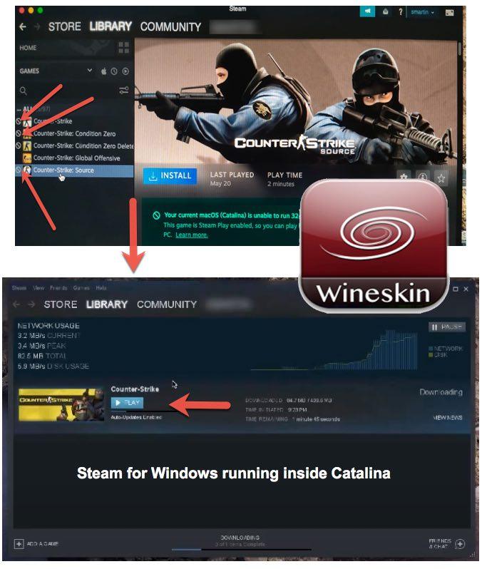 Play 32-bit Steam games Catalina Mac