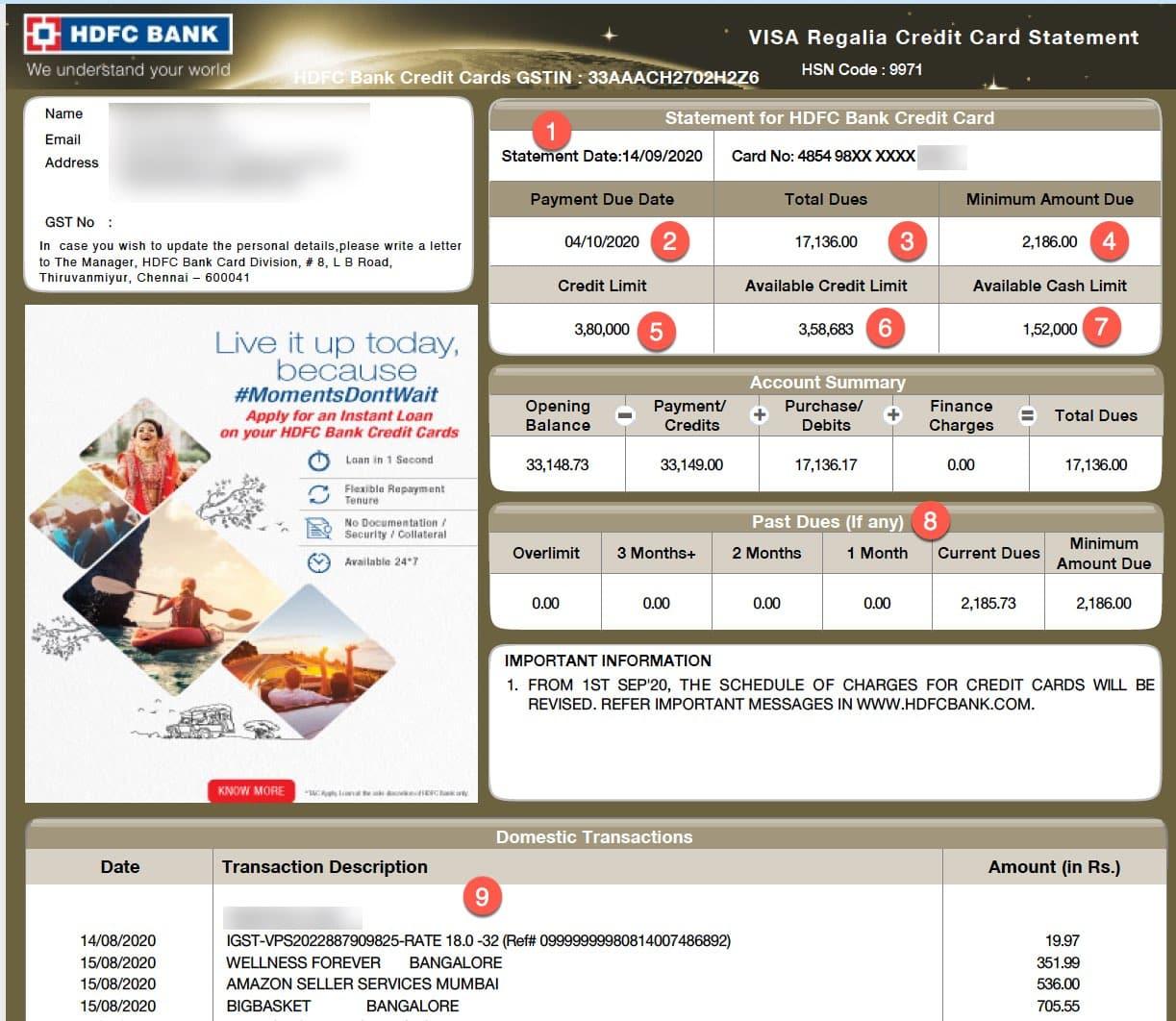HDFC CC statement credit card biil