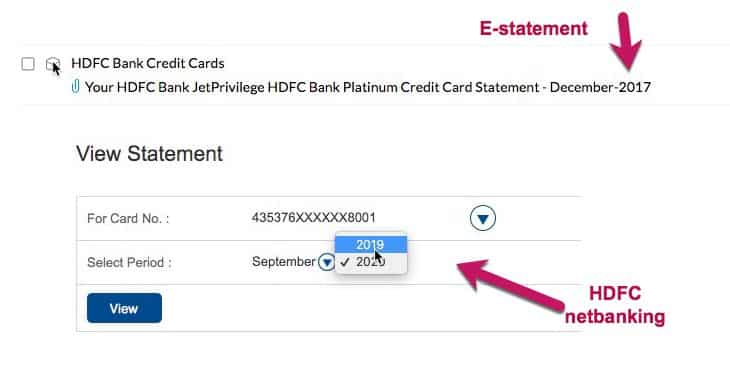 HDFC bank old credit card statements