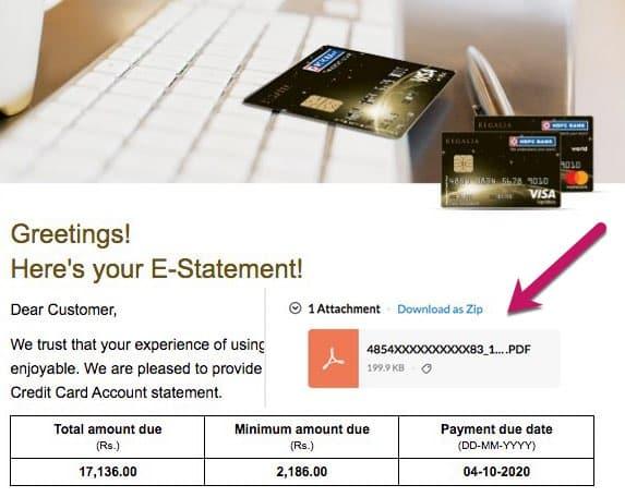 HDFC card e-statement download