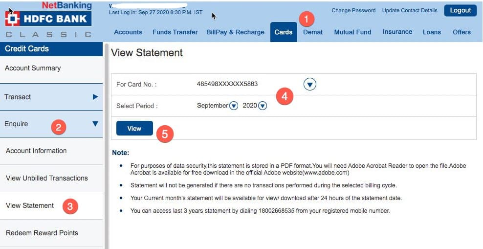 check HDFC credit card statement online