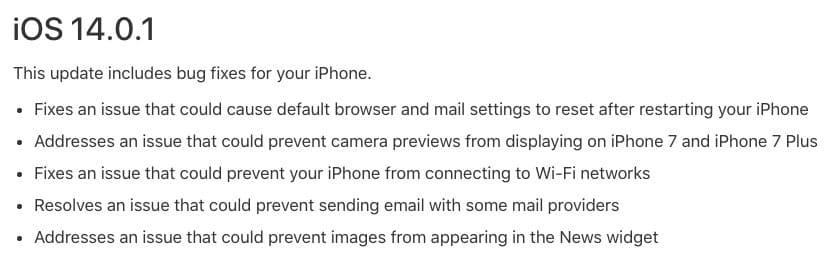 iOS 14.0.1 ipsw download changes
