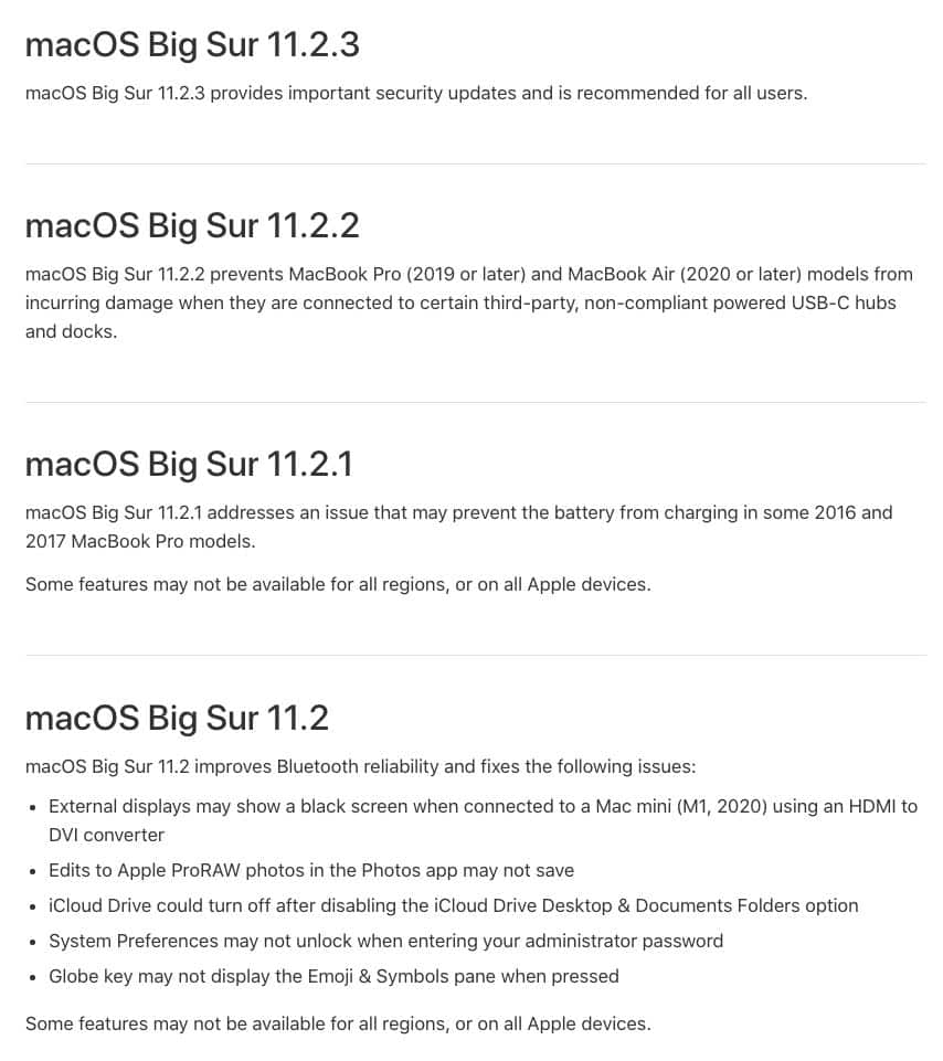 macOS Big Sur 11.2 installer changes