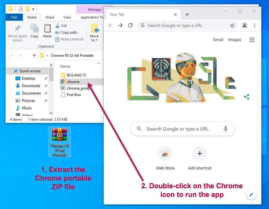 Chrome Portable ZIP 32 64 bit Windows PC