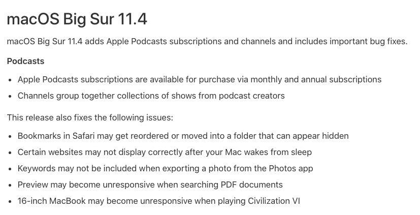 macOS Big Sur 11.4 installer changes