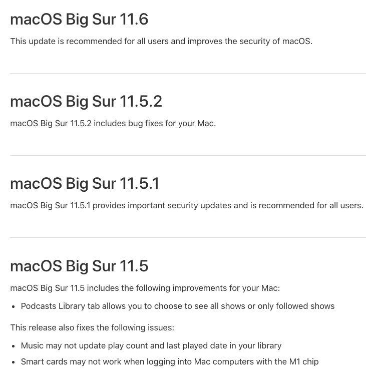 macOS Big Sur installer changes